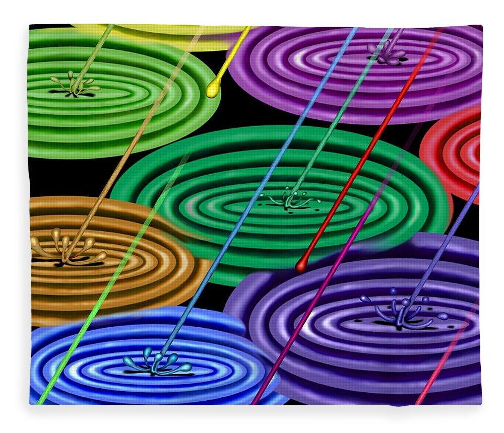 Surrealism Fleece Blanket featuring the digital art Chakra Shower I by Robert Morin