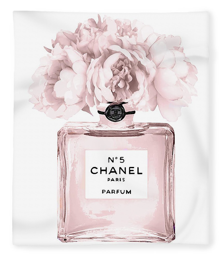 Chanel Fleece Blanket featuring the mixed media Chanel N.5 Perfume 9 by Del Art