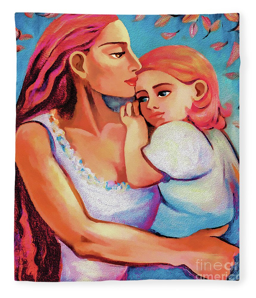 Mother And Child Fleece Blanket featuring the painting Changing Seasons by Eva Campbell