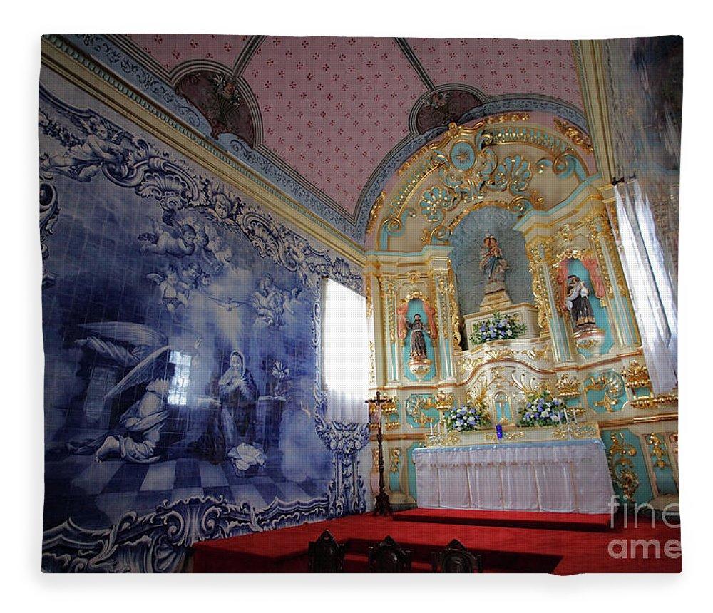 Fenais Da Ajuda Fleece Blanket featuring the photograph Chapel In Azores Islands by Gaspar Avila