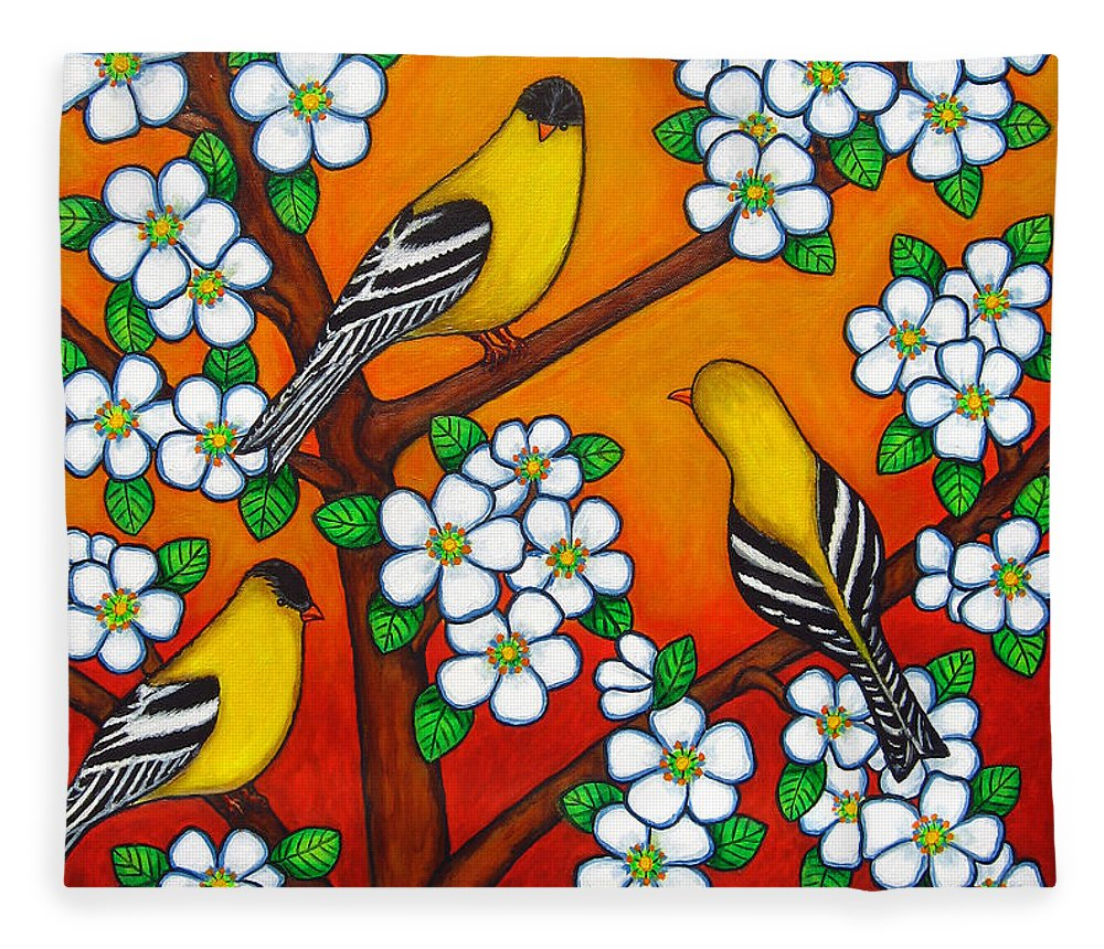 Goldfinch Fleece Blanket featuring the painting Chardonnay Sunset by Lisa Lorenz