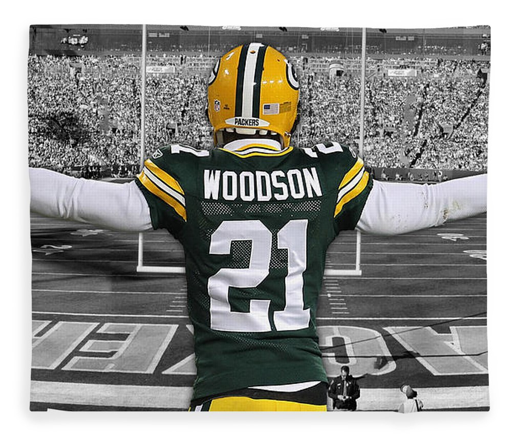 Charles Woodson Fleece Blanket featuring the mixed media Charles Woodson Green Bay Packers Stadium Art 2 by Joe Hamilton