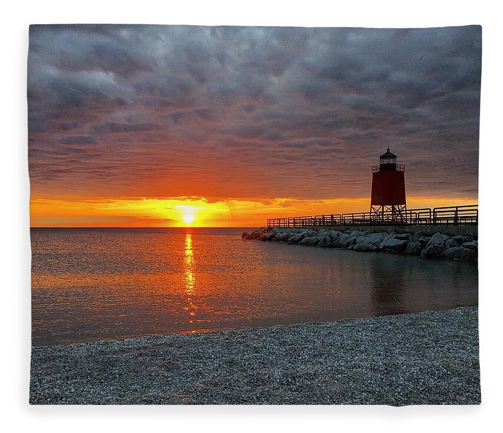 Charlevoix Fleece Blanket featuring the photograph Charlevoix Sunset by Megan Noble