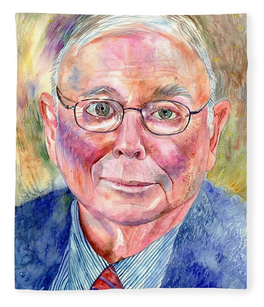 Charlie Fleece Blanket featuring the painting Charlie Munger Painting by Suzann Sines