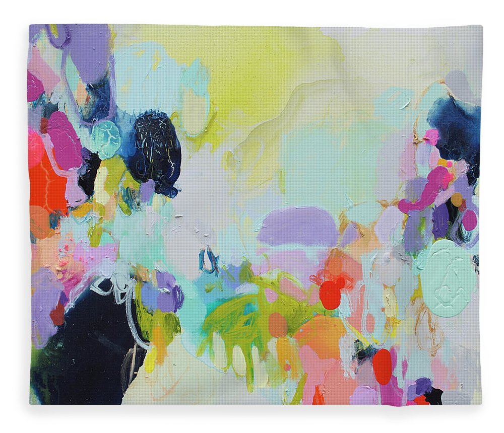 Abstract Fleece Blanket featuring the painting Chartreuse Stop by Claire Desjardins