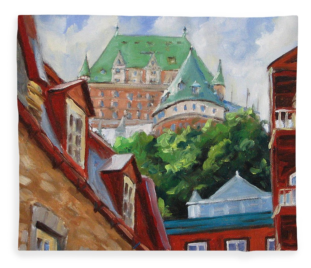 Chateau Frontenac Fleece Blanket featuring the painting Chateau Frontenac by Richard T Pranke