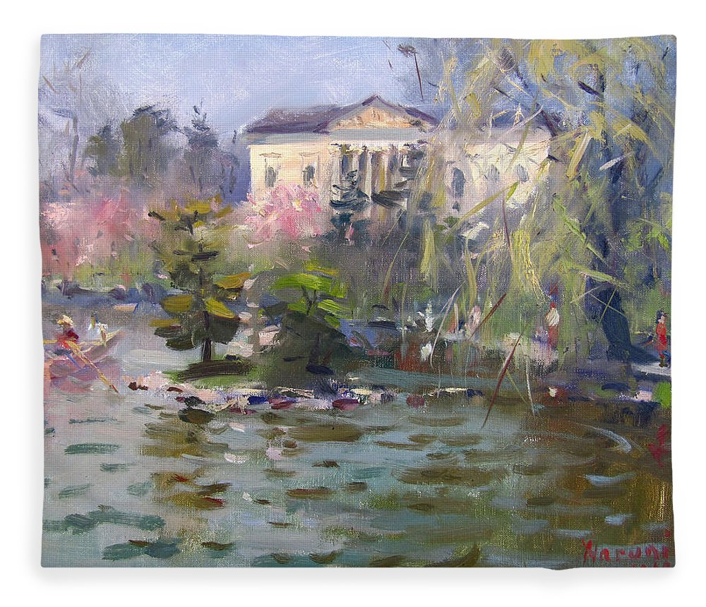 Cherry Blossom Fleece Blanket featuring the painting Cherry Blossom Festival Buffalo by Ylli Haruni