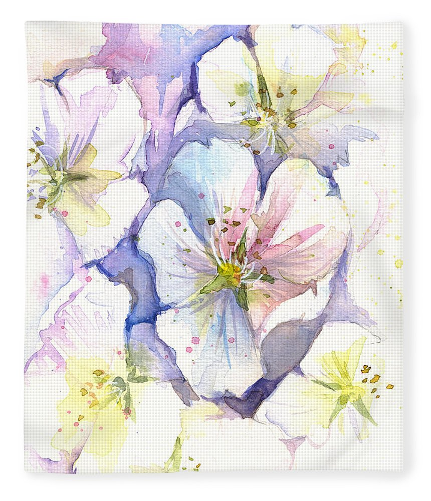 Cherry Blossom Fleece Blanket featuring the painting Cherry Blossoms Watercolor by Olga Shvartsur