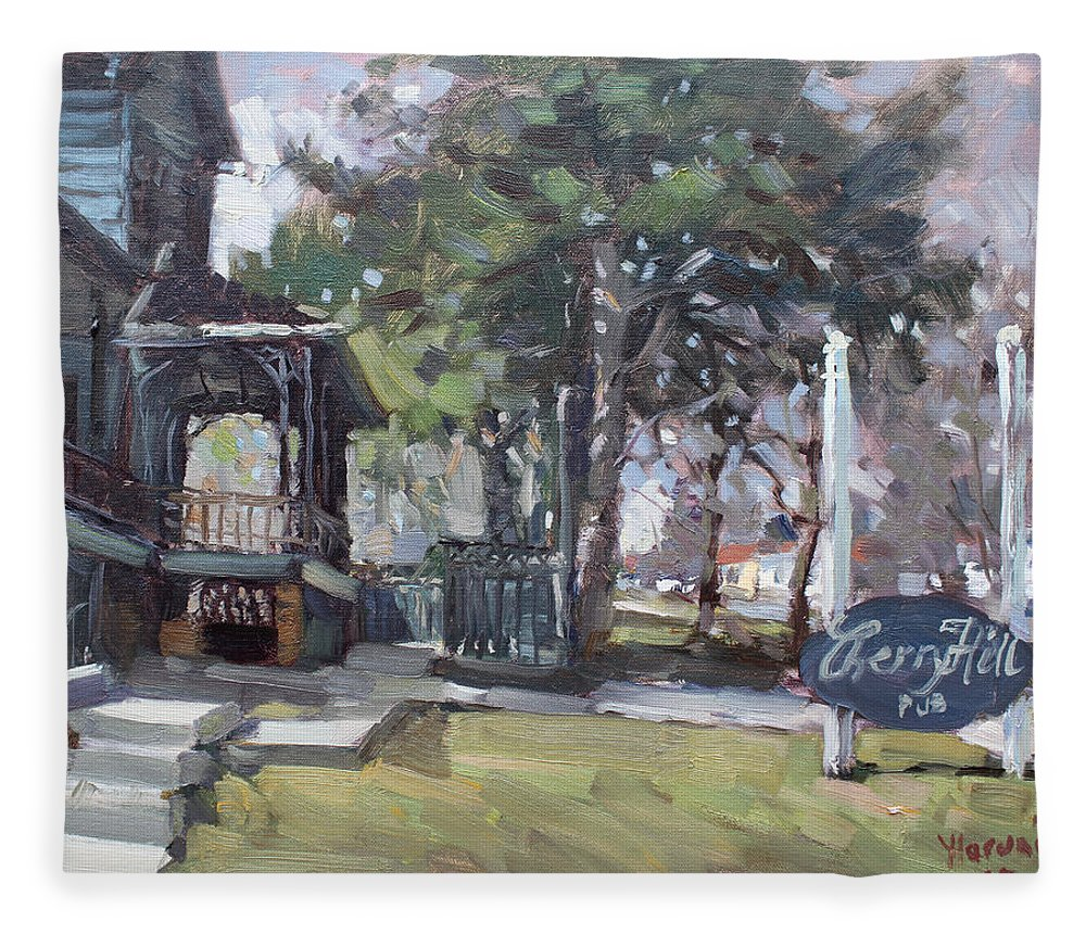 Cherry Hills Pub Fleece Blanket featuring the painting Cherry Hill Pub by Ylli Haruni