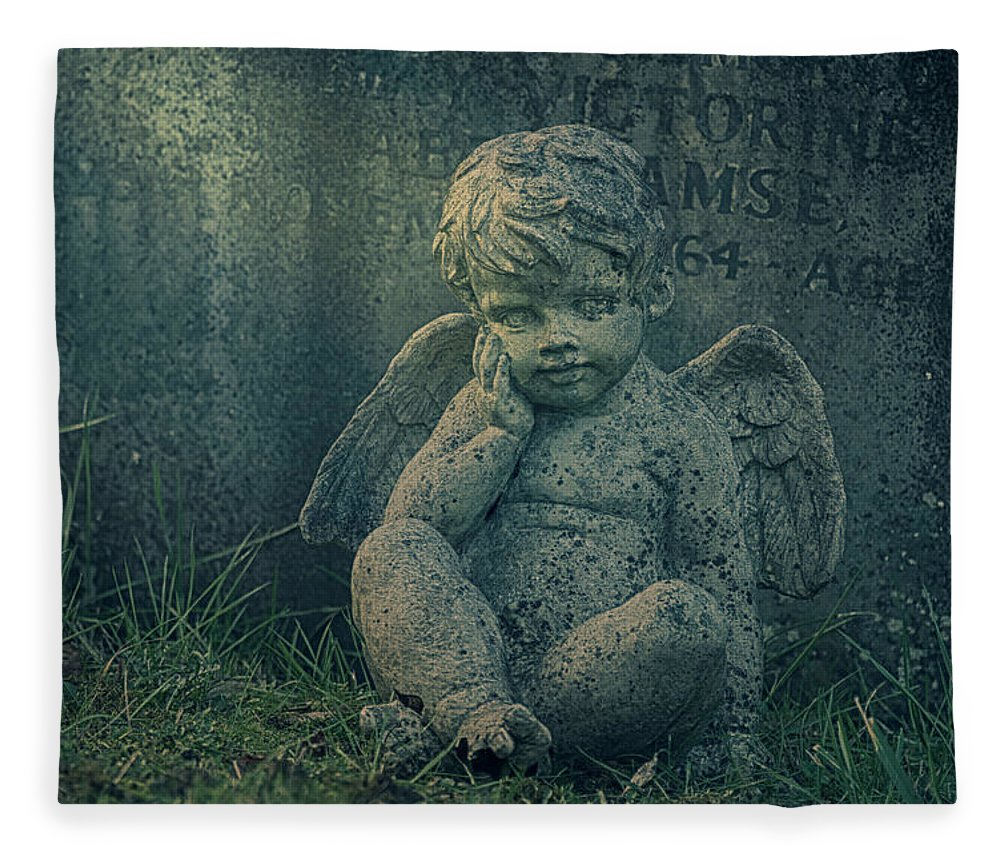 Anglican Fleece Blanket featuring the photograph Cherub Lost In Thoughts by Monika Tymanowska