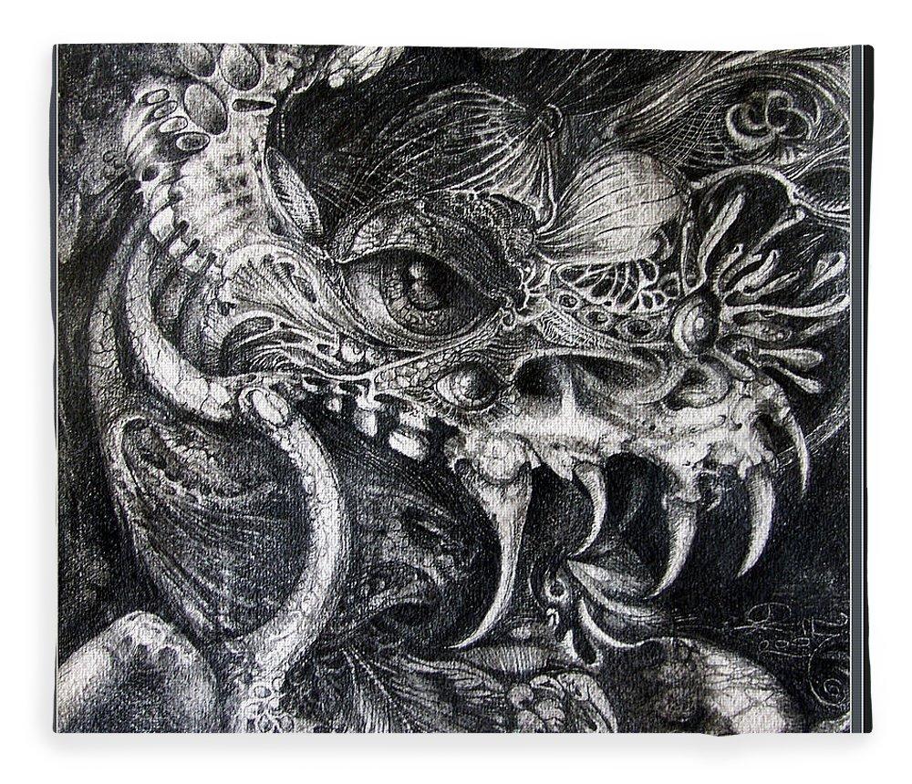 Fleece Blanket featuring the drawing Cherubim Of Beasties by Otto Rapp
