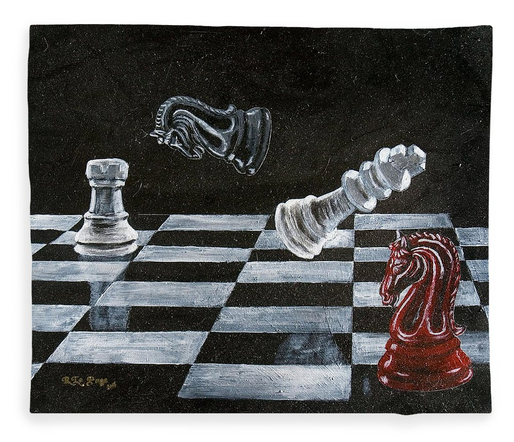 Chess Fleece Blanket featuring the painting Chess by Richard Le Page