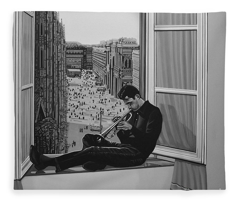Chet Baker Fleece Blanket featuring the painting Chet Baker by Paul Meijering