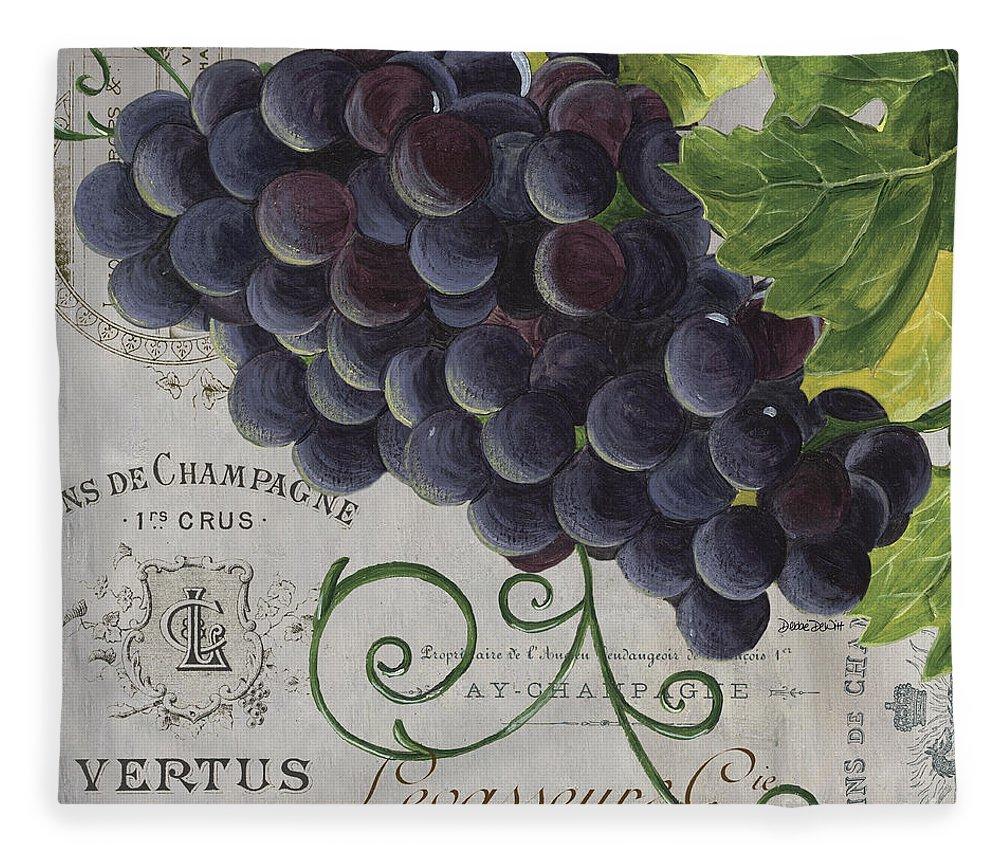 Grapes Fleece Blanket featuring the painting Vins de Champagne 2 by Debbie DeWitt
