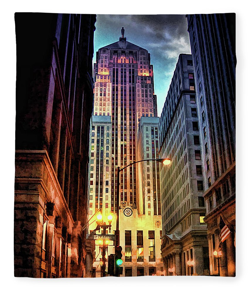 Chicago Fleece Blanket featuring the painting Chicago Board Of Trade by Christopher Arndt