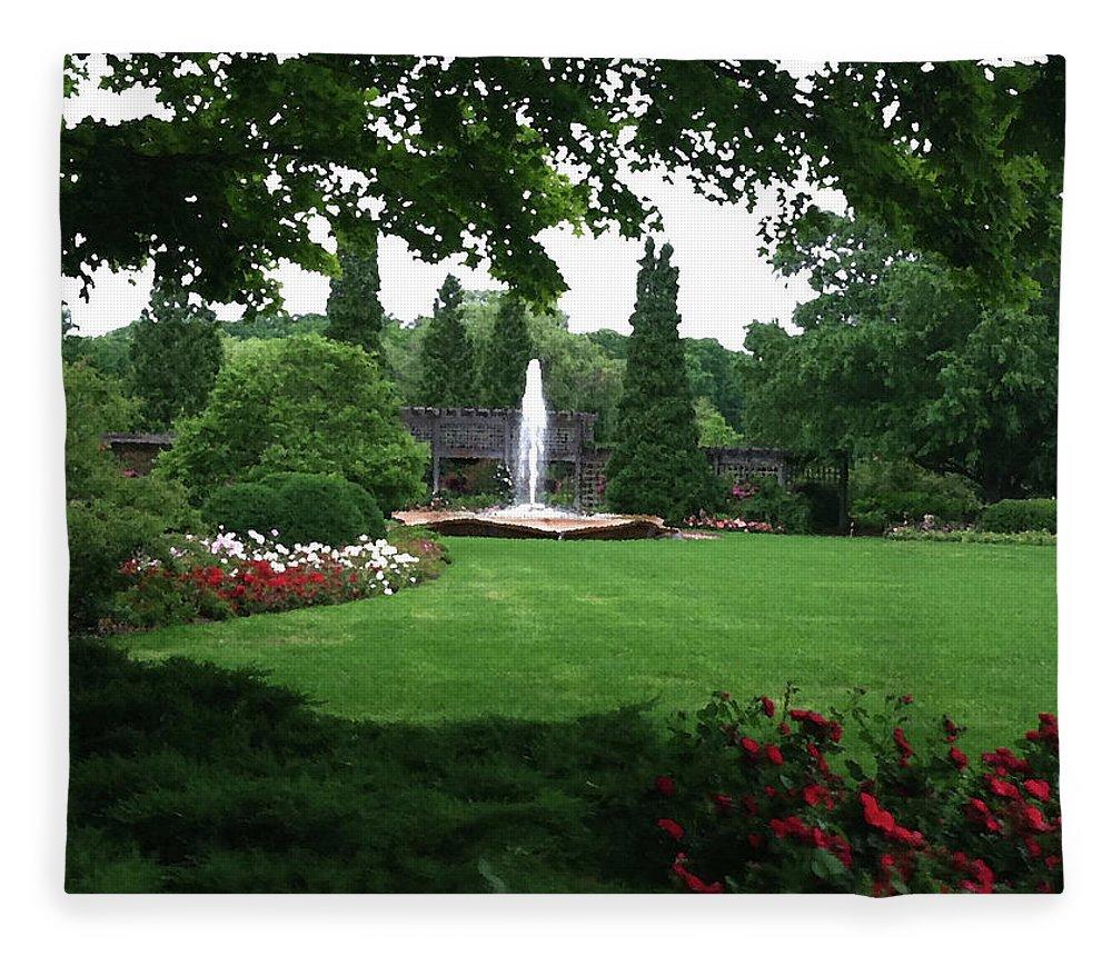 Landscape Fleece Blanket featuring the photograph Chicago Botanical Gardens Landscape by Steve Karol