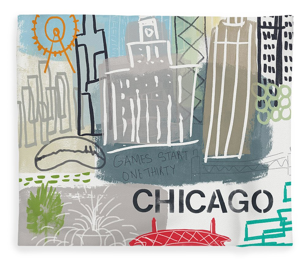 Chicago Fleece Blanket featuring the painting Chicago Cityscape- Art By Linda Woods by Linda Woods