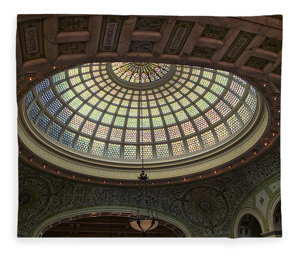 Chicago Cultural Center Fleece Blanket featuring the photograph Chicago Cultural Center Tiffany Dome 01 by Thomas Woolworth