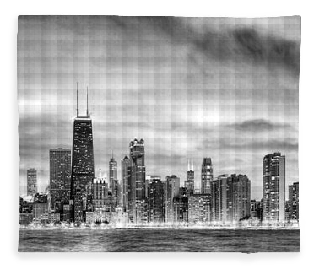 Chicago fleece blanket featuring the painting chicago gotham city skyline black and white panorama by christopher
