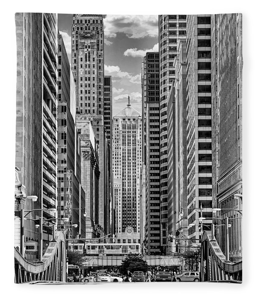 Chicago Fleece Blanket featuring the photograph Chicago Lasalle Street Black And White by Christopher Arndt