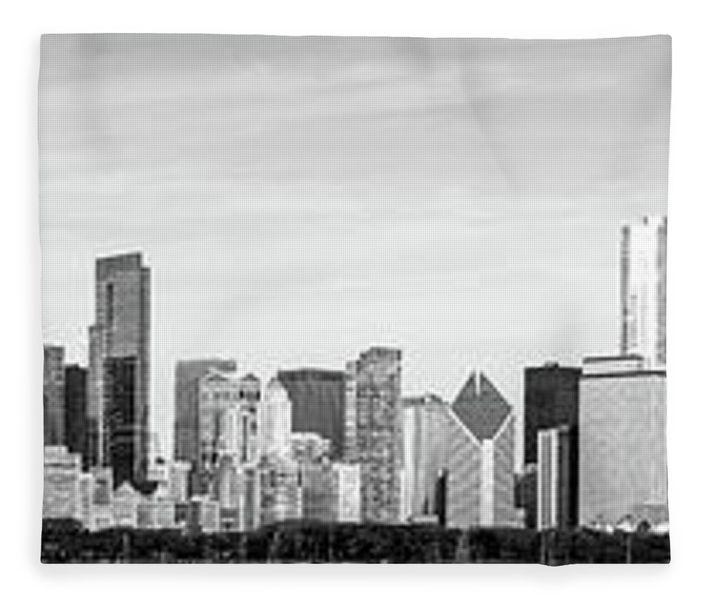 2011 Fleece Blanket featuring the photograph Chicago Panorama Skyline High Resolution Black And White Photo by Paul Velgos
