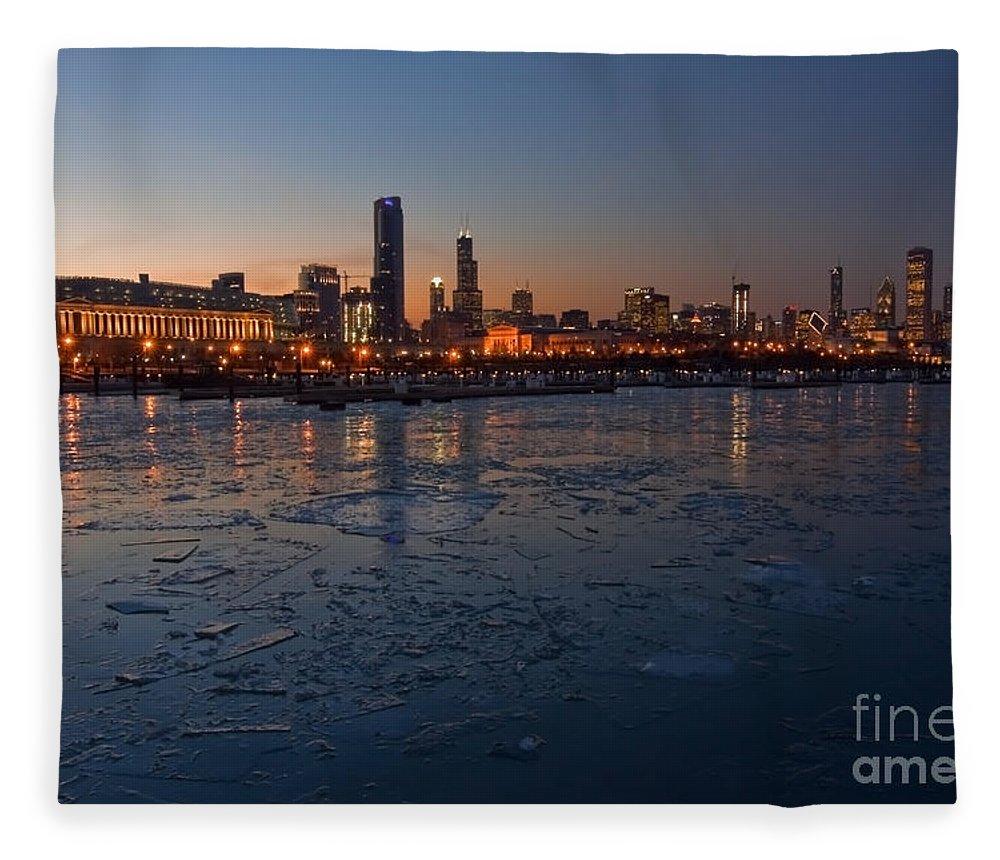 Chicago Fleece Blanket featuring the photograph Chicago Skyline At Dusk by Sven Brogren