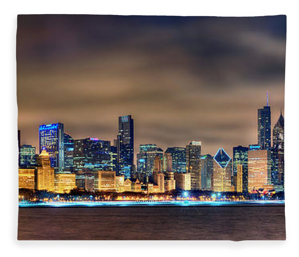Chicago Fleece Blanket featuring the photograph Chicago Skyline At Night Panorama Color 1 To 3 Ratio by Jon Holiday