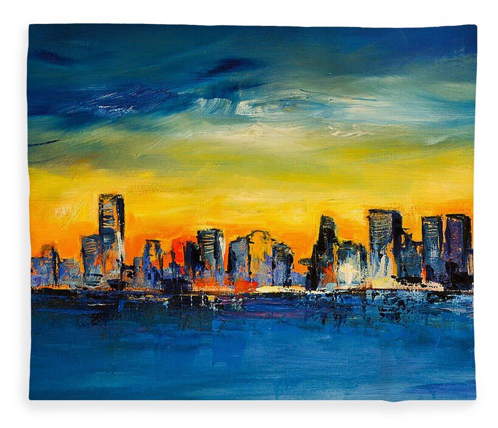 Chicago Skyline Fleece Blanket for Sale by Elise Palmigiani