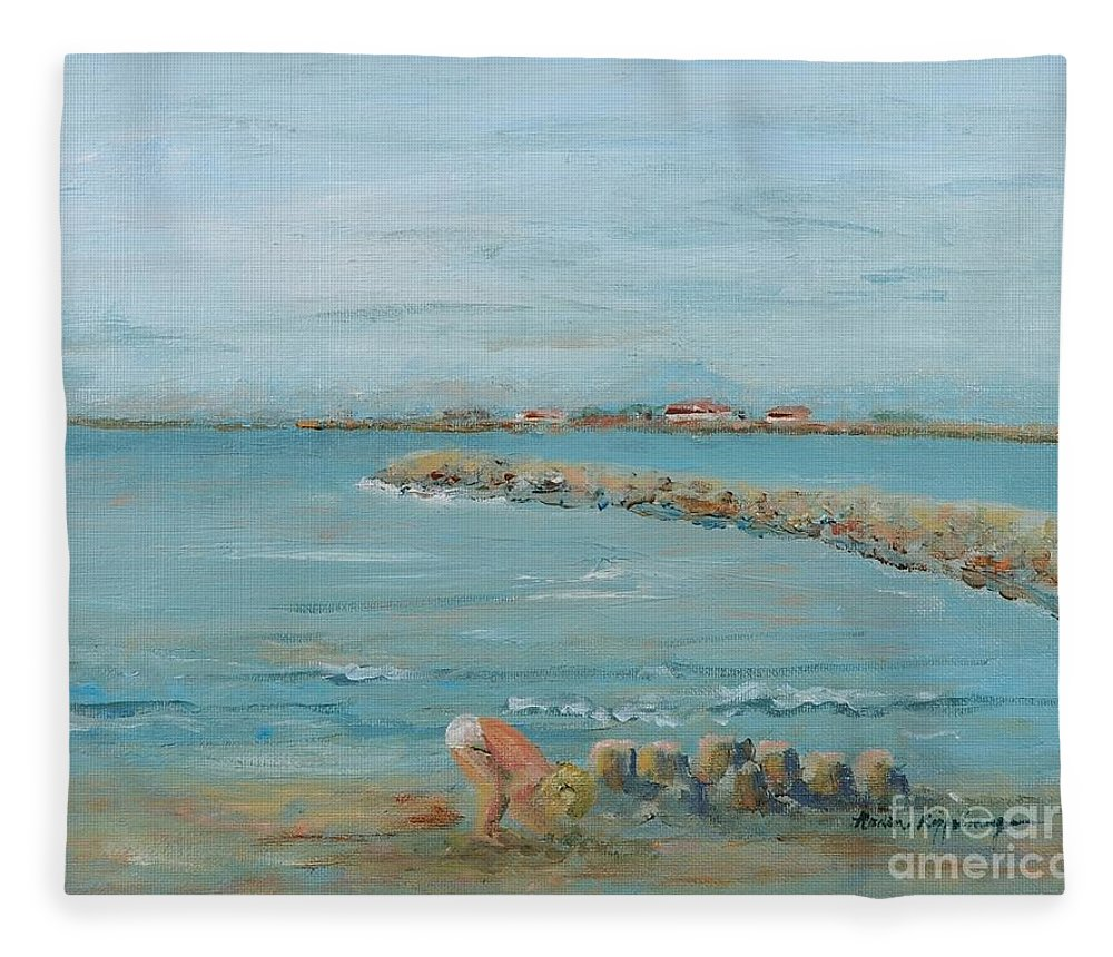 Beach Fleece Blanket featuring the painting Child Playing at Provence Beach by Nadine Rippelmeyer
