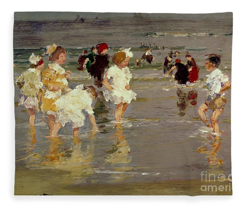 Water Fleece Blanket featuring the painting Children on the Beach by Edward Henry Potthast