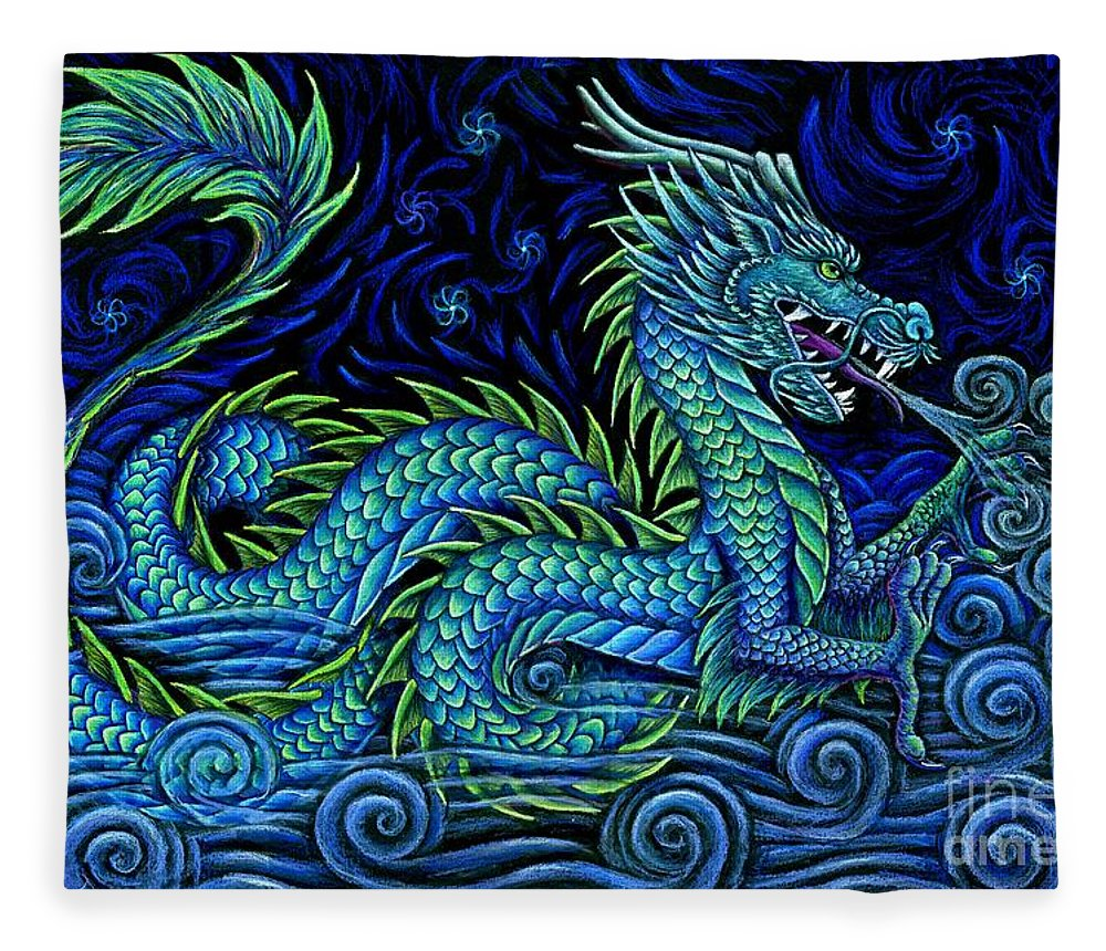 Chinese Dragon Fleece Blanket featuring the drawing Chinese Azure Dragon by Rebecca Wang