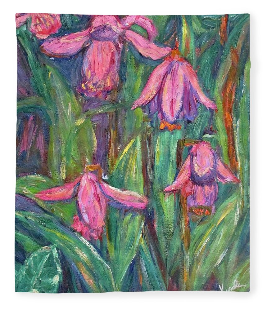 Floral Fleece Blanket featuring the painting Chinese Orchids by Kendall Kessler