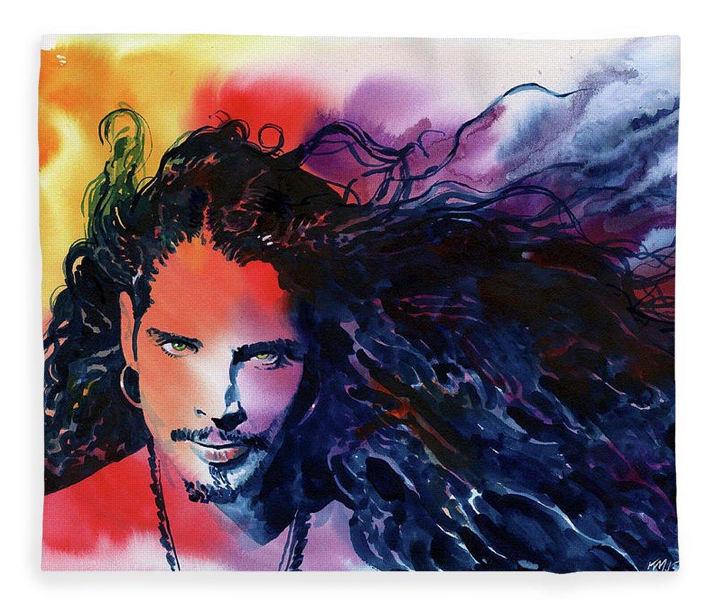 Soundgarden Fleece Blanket featuring the painting Chris Cornell by Ken Meyer jr