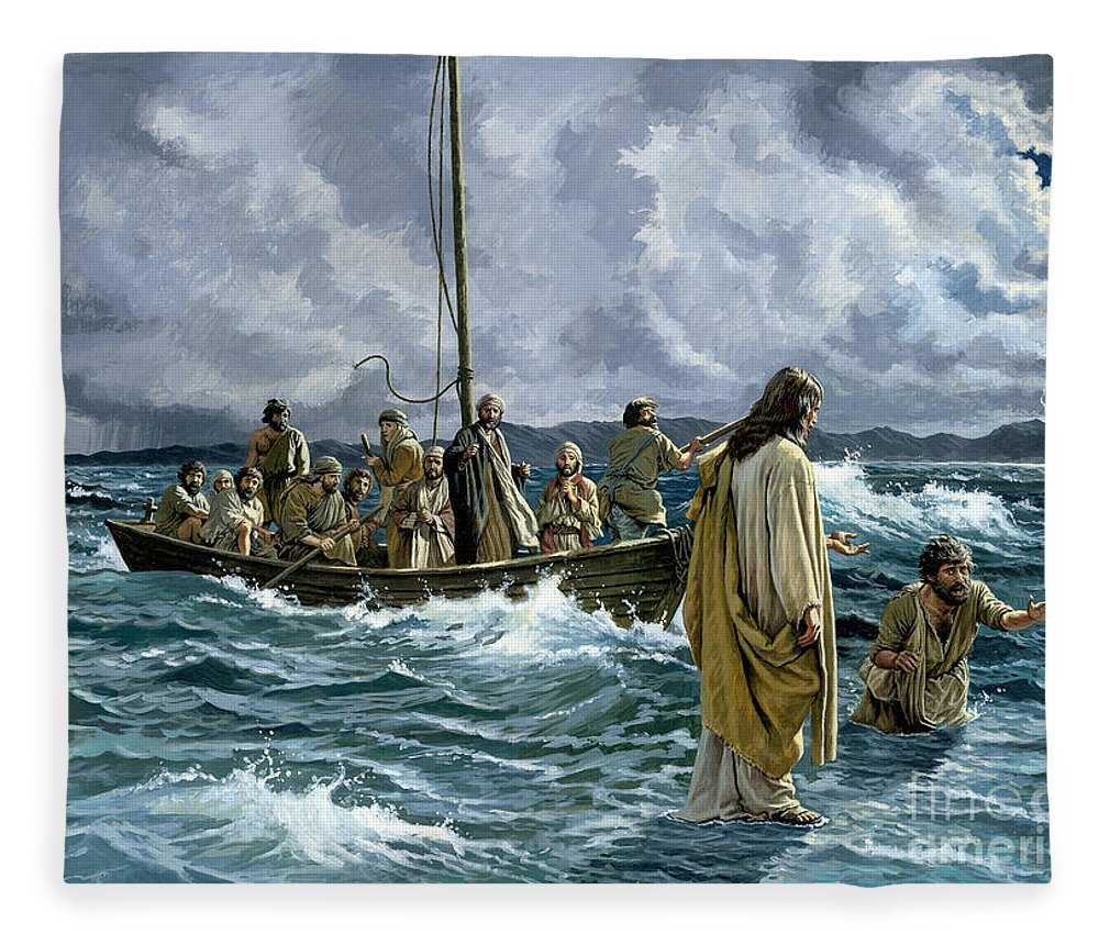 Christ Fleece Blanket featuring the painting Christ Walking On The Sea Of Galilee by Anonymous