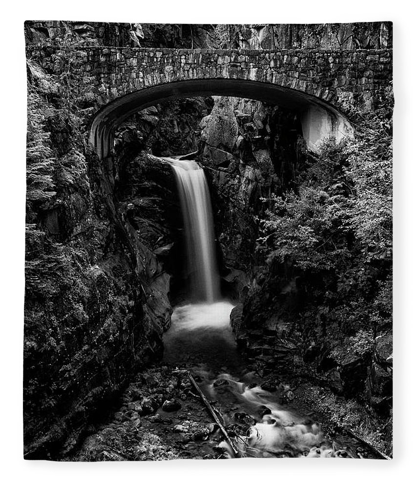 Christine Falls Fleece Blanket featuring the photograph Christine Falls - Mount Rainer National Park - Bw by Stephen Stookey