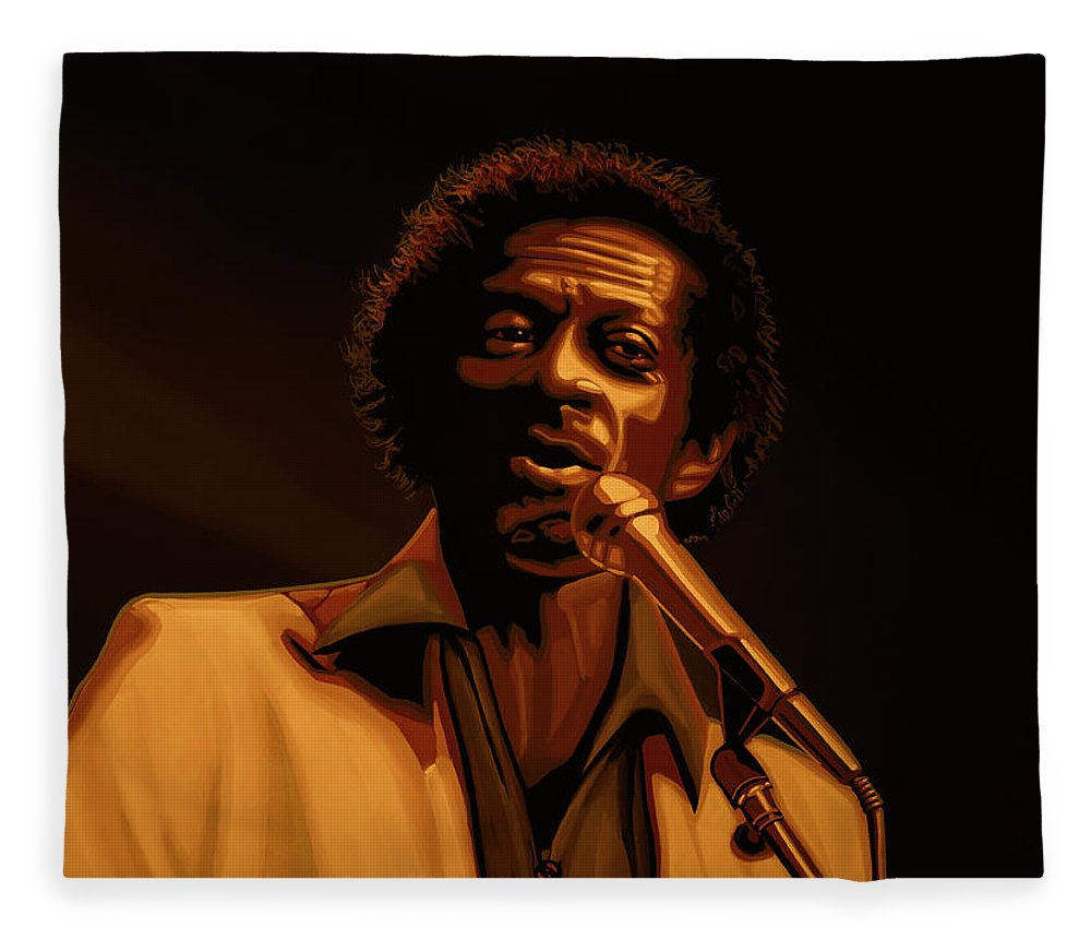 Chuck Berry Fleece Blanket featuring the mixed media Chuck Berry Gold by Paul Meijering
