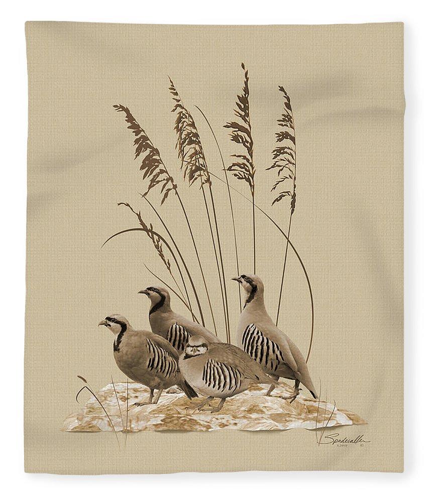 Partridge Fleece Blanket featuring the digital art Chukar Partridges by M Spadecaller