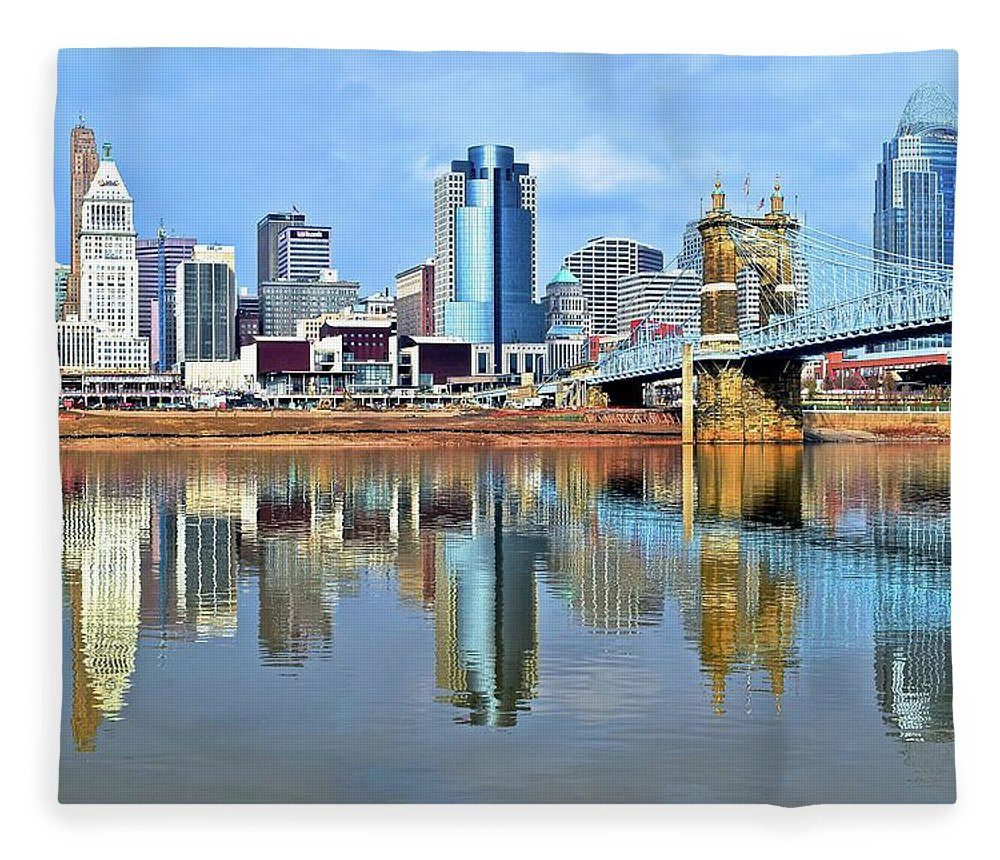 Cincinnati Fleece Blanket featuring the photograph Cincinnati Ohio Times Two by Frozen in Time Fine Art Photography