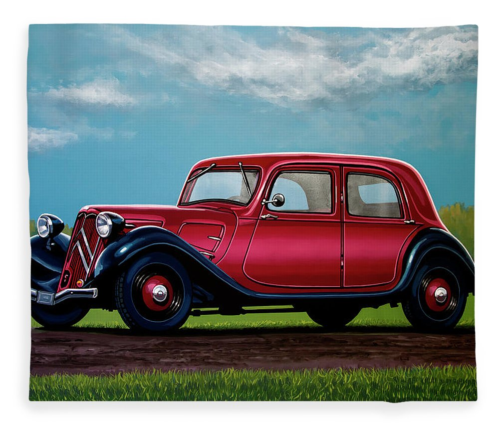 Citroen Traction Avant Fleece Blanket featuring the painting Citroen Traction Avant 1934 Painting by Paul Meijering