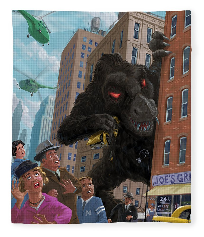 City Fleece Blanket featuring the digital art City Invasion Furry Monster by Martin Davey