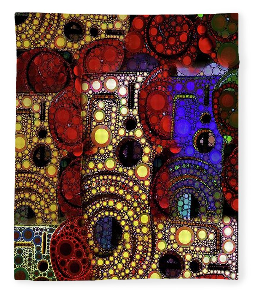 Abstract Fleece Blanket featuring the digital art City Lights by Ron Bissett
