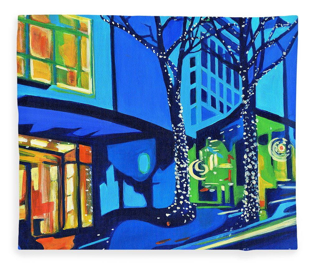 Contemporary Painting Fleece Blanket featuring the painting City Lights by Tanya Filichkin