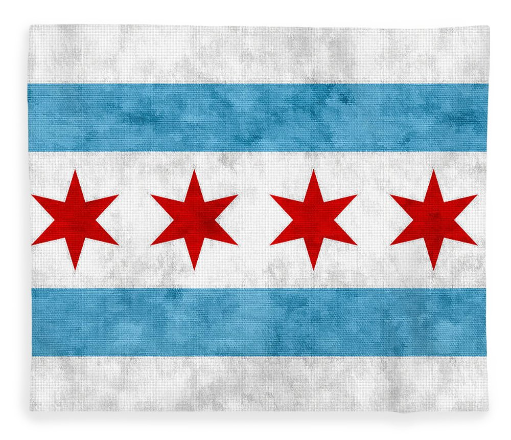 Chicago Fleece Blanket featuring the mixed media City Of Chicago Flag by Christopher Arndt
