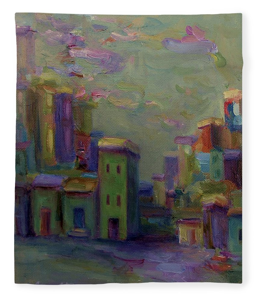 Cityscape Fleece Blanket featuring the painting City Of Color And Light by Mary Wolf