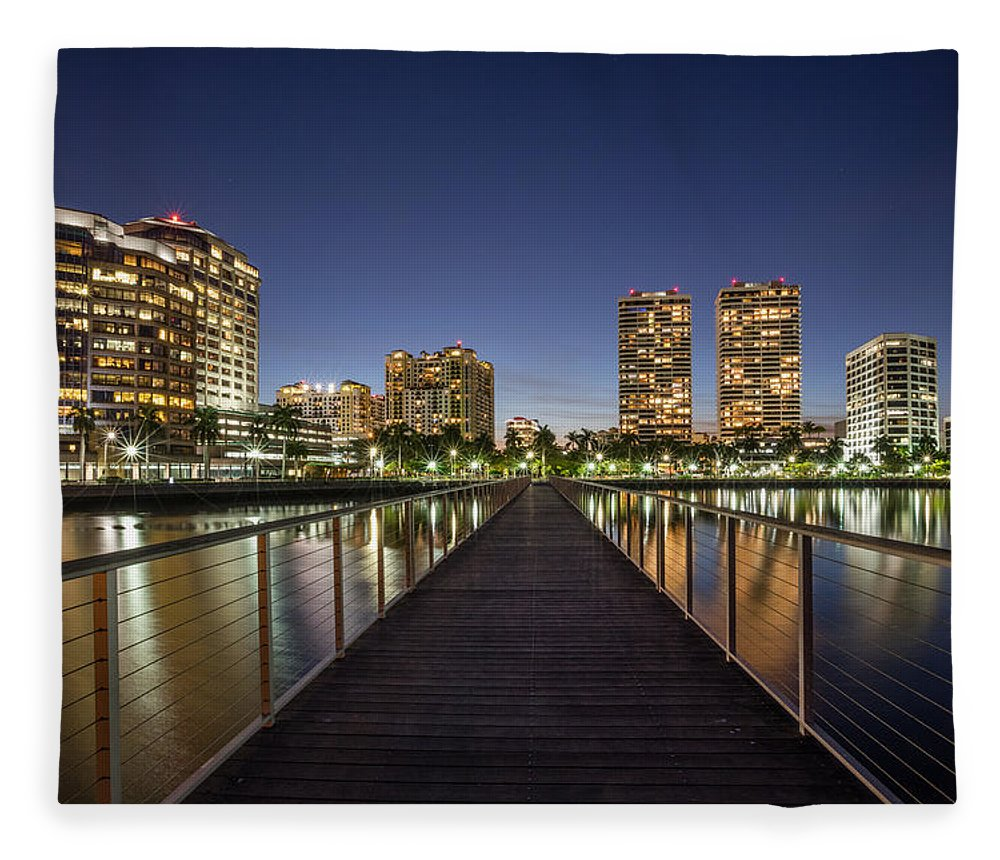 Boats Fleece Blanket featuring the photograph City Skyline by Debra and Dave Vanderlaan