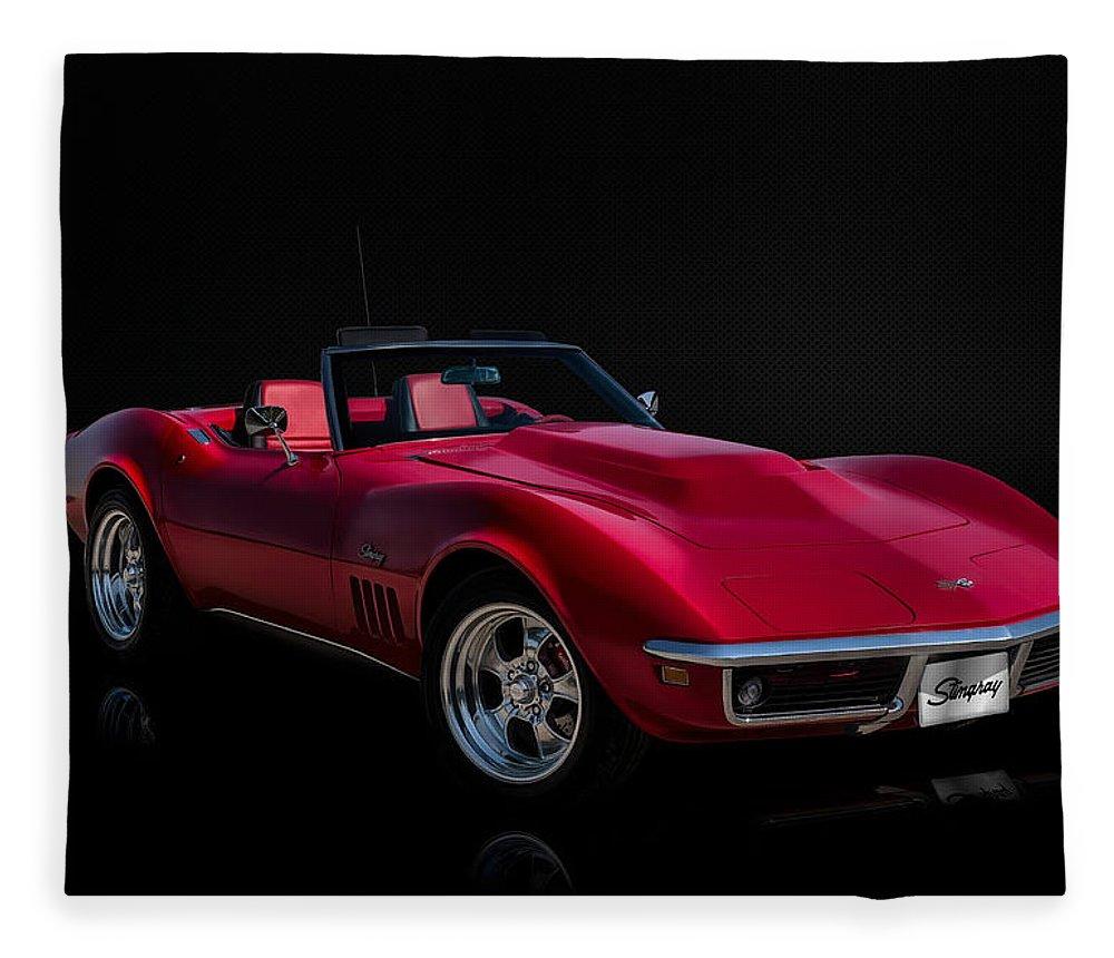 Red Fleece Blanket featuring the digital art Classic Red Corvette by Douglas Pittman