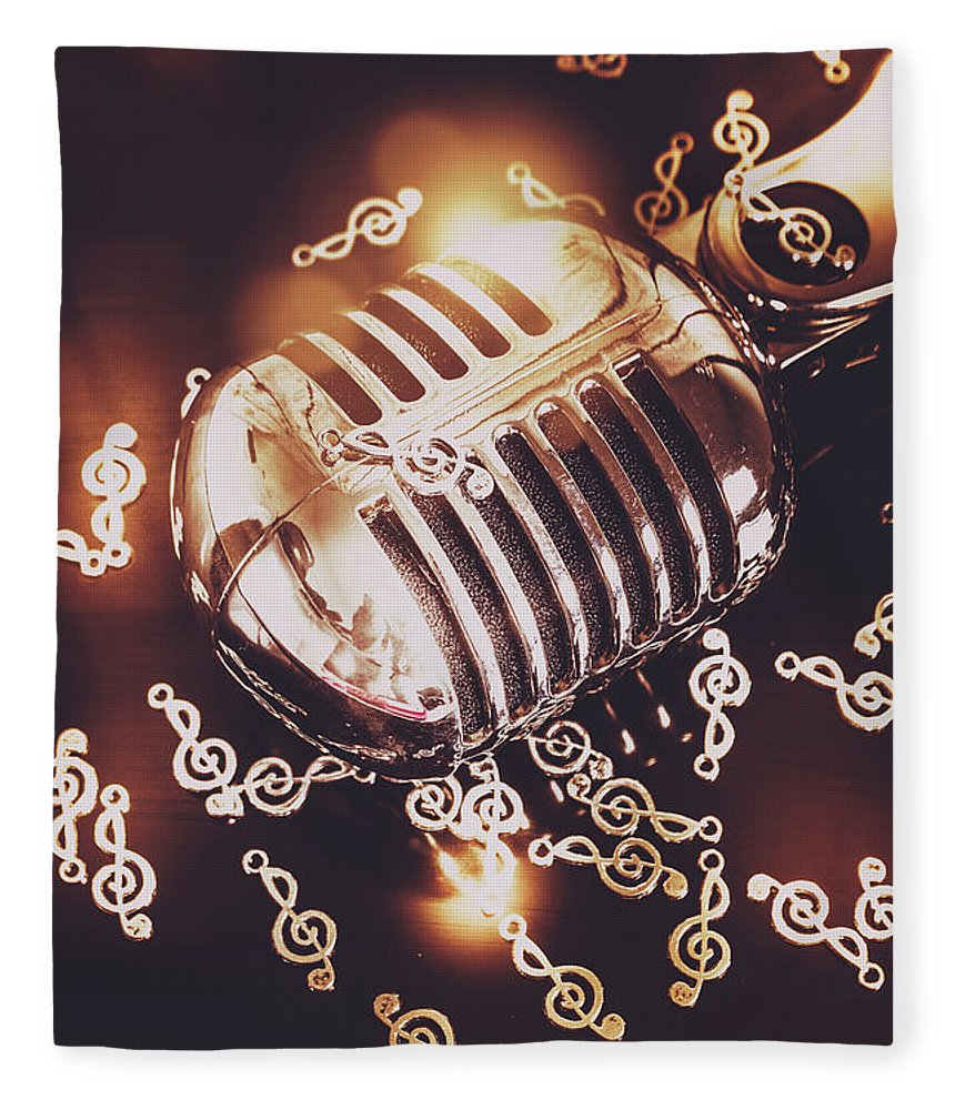 Microphone Fleece Blanket featuring the photograph Classics At The Audio Hall by Jorgo Photography - Wall Art Gallery