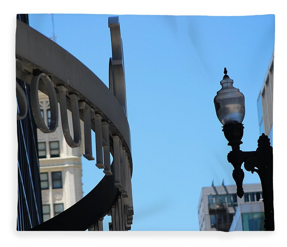Clear Street Lamp Downtown Chicago Fleece Blanket