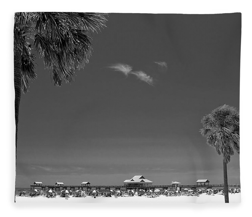 3scape Fleece Blanket featuring the photograph Clearwater Beach Bw by Adam Romanowicz