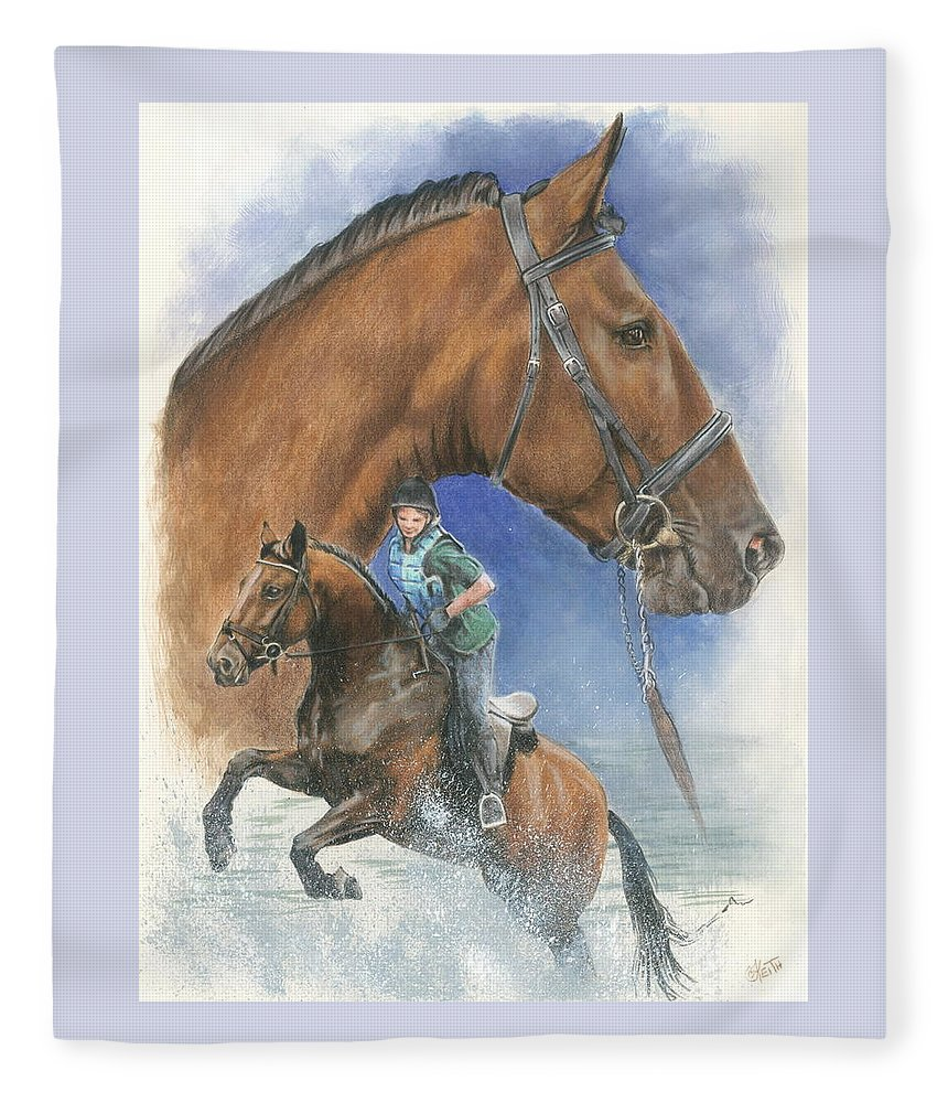 Hunter Jumper Fleece Blanket featuring the mixed media Cleveland Bay by Barbara Keith
